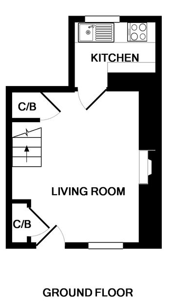 The ground floor plan for Mobray, a self catering holiday cottage to rent in Port Isaac.