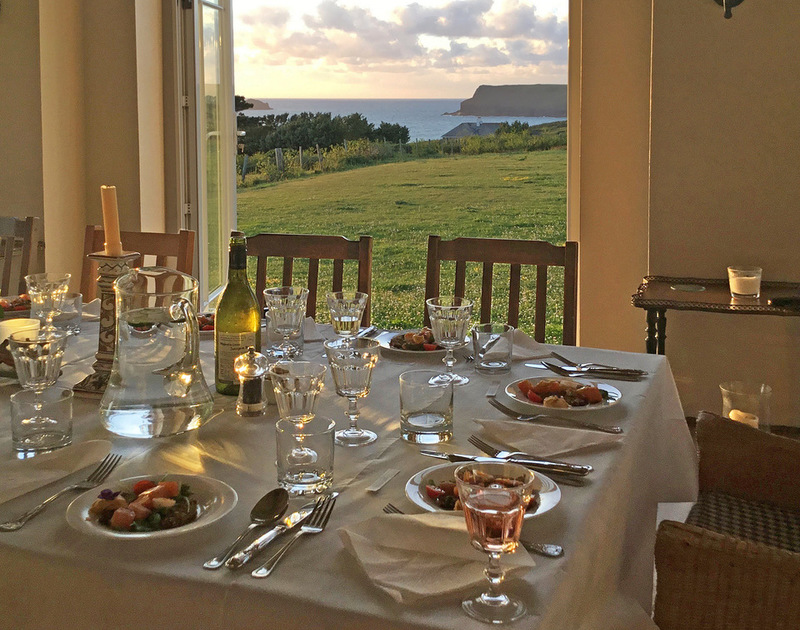 Open up the french doors on warm days and enjoy, memorable, holiday meals with the Atlantic Ocean and Pentire Point at the bottom of the garden at Tristan.