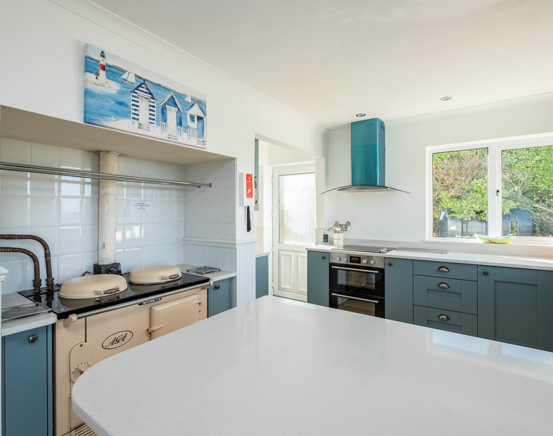 The well equipped kitchen also has the original cream AGA available for use in the Winter months alongside the electric cooker and hob at self catering holiday house Westpoint in Polzeath.