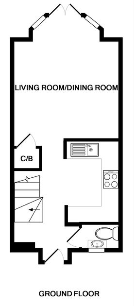 The ground floor plan for Lowenna Manor 7, a self catering holiday house in Rock, North Cornwall.