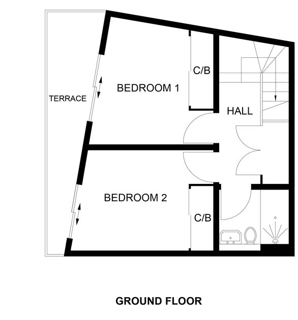 The ground floor plan for Backwater, a family holiday house to rent close to the sea, surf and sands of Polzeath in North Cornwall.