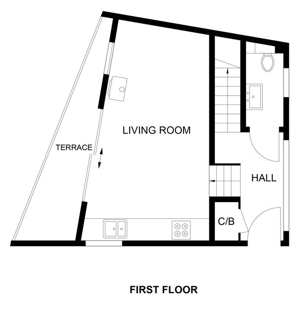 The first floor plan for Backwater, a luxury holiday home in Polzeath on the stunning North Cornwall Coast.