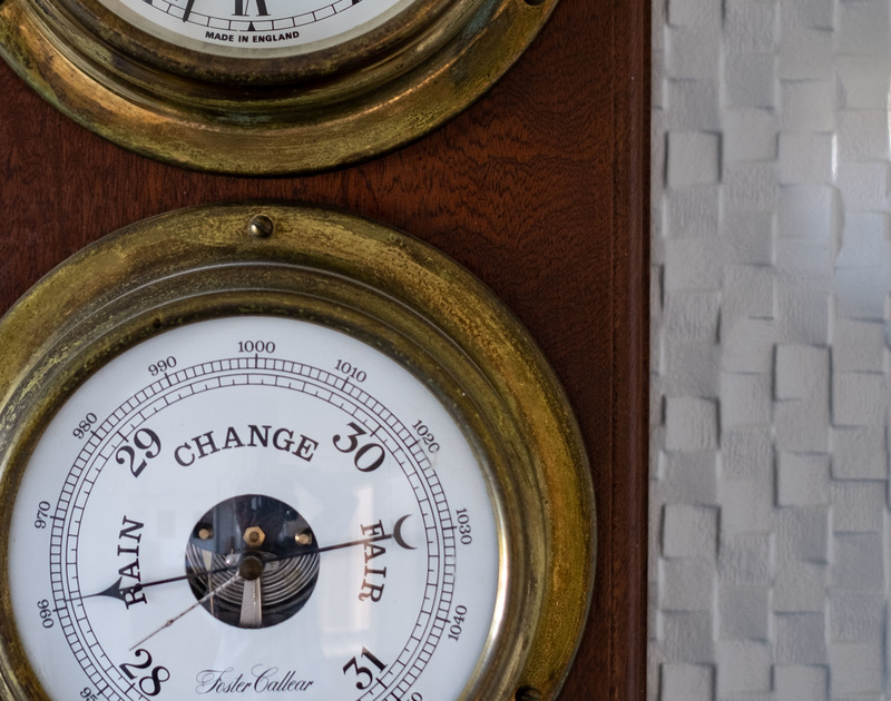 Check the weather using the barometer at Hillview a self catering holiday rental overlooking the beach and sea at Polzeath in North Cornwall.