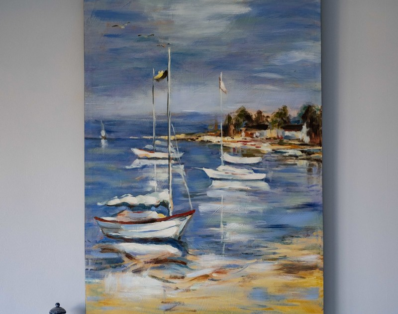 Nautical painting on the wall at Hillview a self catering holiday property overlooking Polzeath beach and only a short drive away from the Camel Estuary in Rock.
