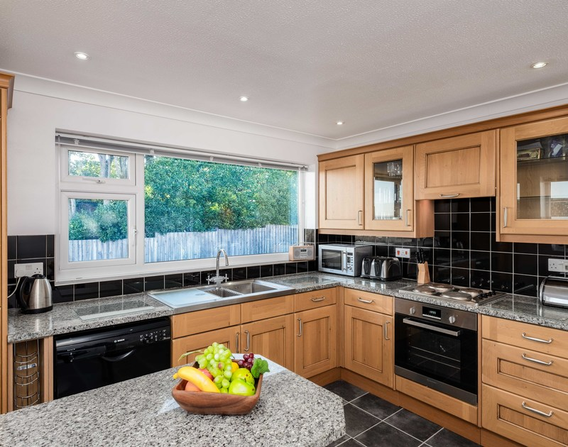 Good sized kitchen at Hillview, a seaside holiday rental in a great position overlooking Polzeath in North Cornwall.