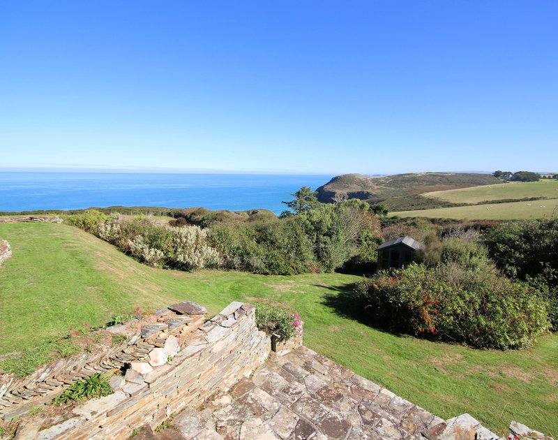 The sea and coastal views from the gardens at Trevan House, are hard to beat for a peaceful Cornish holiday.