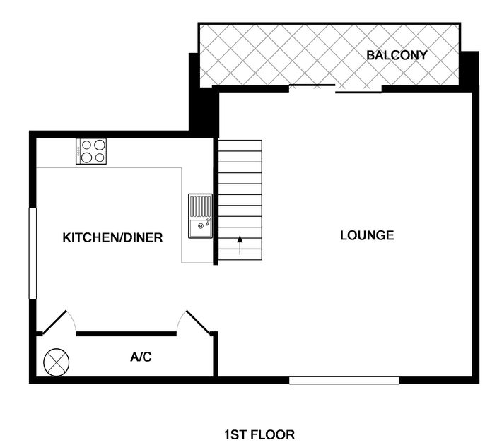The open plan living, first floor plans for Alpine Lodge in Rock.