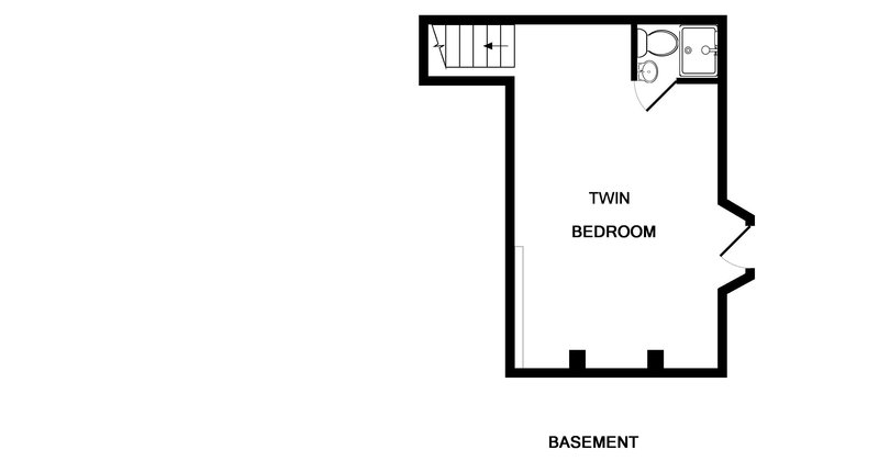 The floor plan for the basement at 2, The Terrace in Rock, Cornwall.