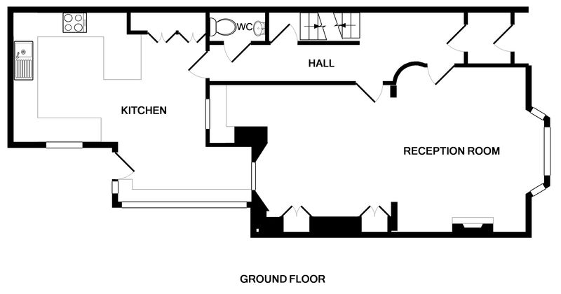 The ground floor plan for 2, The Terrace, a self catering, holiday house in Rock, Cornwall.