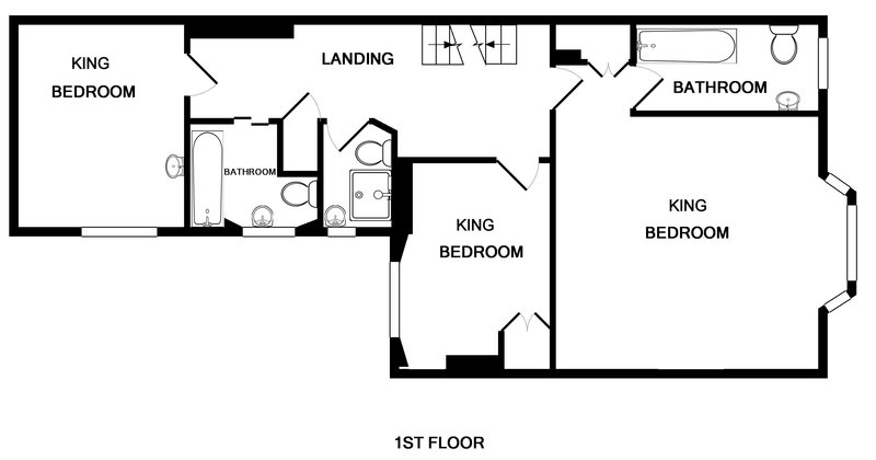 The first floor plans for 2, The Terrace, a self catering holiday house located in the heart of the Camel Estuary in Rock, Cornwall.