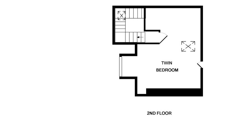 The second floor plan for 2, The Terrace, a self catering holiday house on the Camel Estuary in Rock, Cornwall.