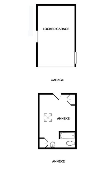 The first floor plan for the garage and annex at Sandy Lodge, a self catering holiday house set just off the Rock road.