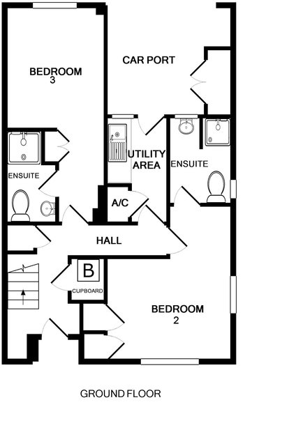 The ground floor plan for Slipway 23, a self catering holiday cottage in Rock, Cornwall.