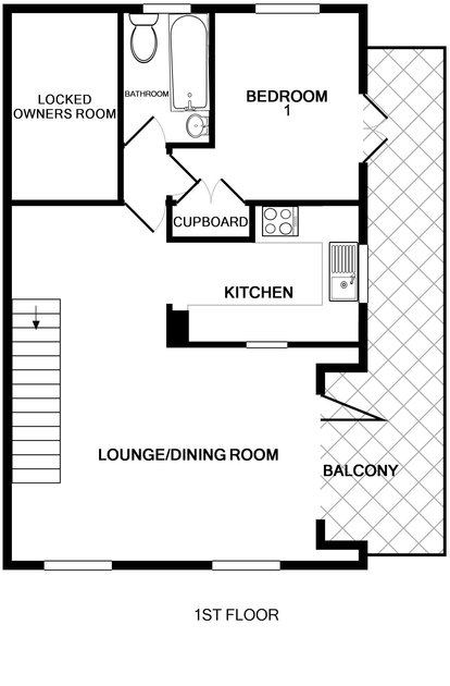The first floor plan for Slipway 23, a holiday house to rent in Rock, Cornwall.