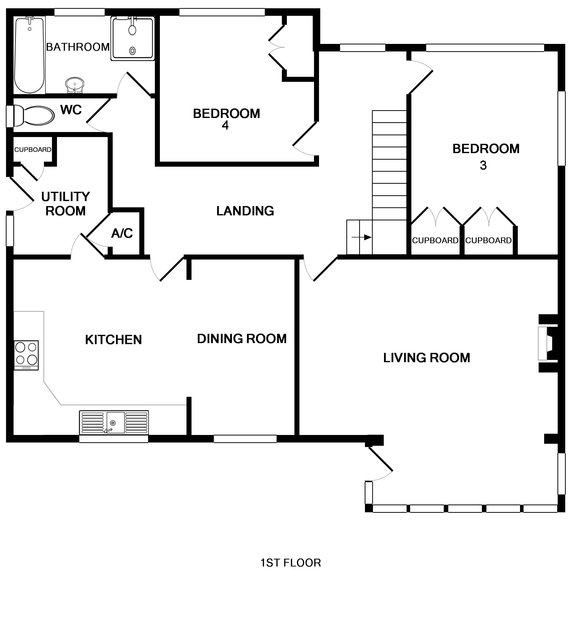 The first floor plan for Tide Race a self catering, holiday house overlooking the Camel Estuary in Daymer Bay, North Cornwall.