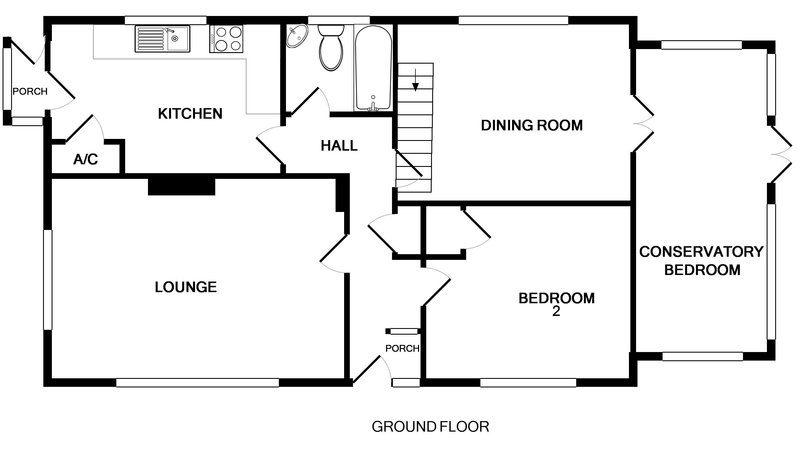 The ground floor plan for Avoca, a holiday rental in Rock, Cornwall.