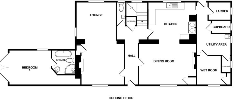 The ground floor plan for self catering, holiday house, Old Farm at Daymer Bay between Rock and Polzeath on the North Cornish Coast.