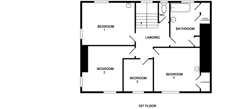 The first floor plan for Old Farm, a beautifully renovated holiday house at Daymer Bay on the North Cornwall Coast.