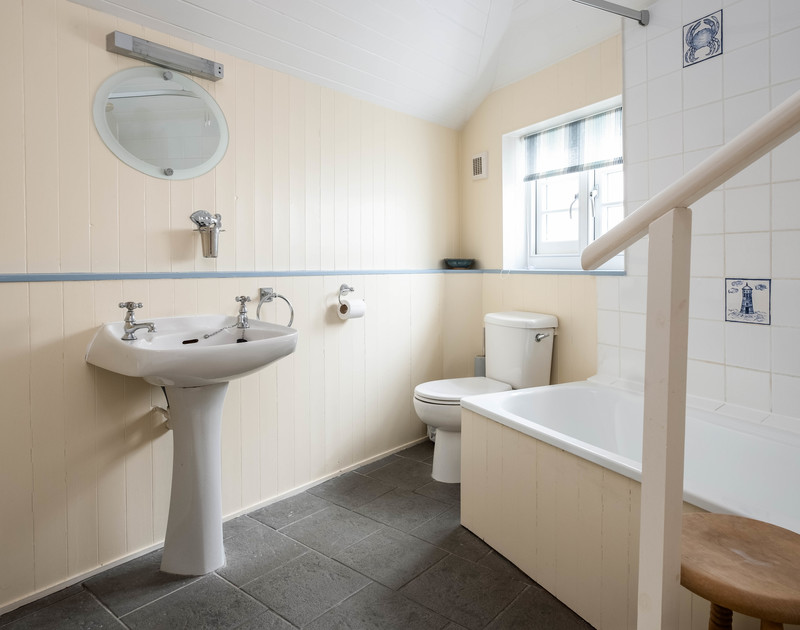 The bathroom in St Samson, a self catering holiday cottage to rent in the heart of Port Isaac's bustling harbour village in North Cornwall.