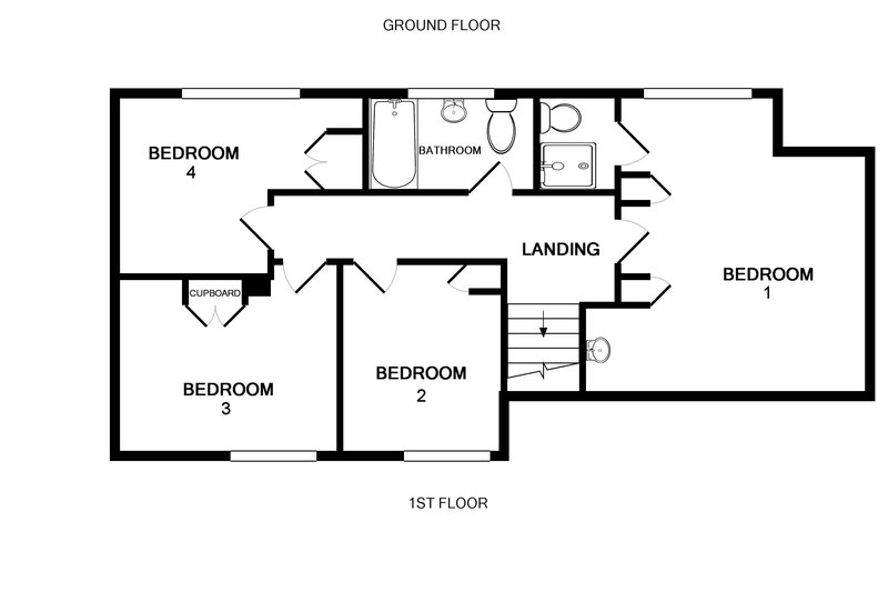 The first floor plan for Sunset, a self catering, holiday home in Polzeath on the North Cornwall coast.