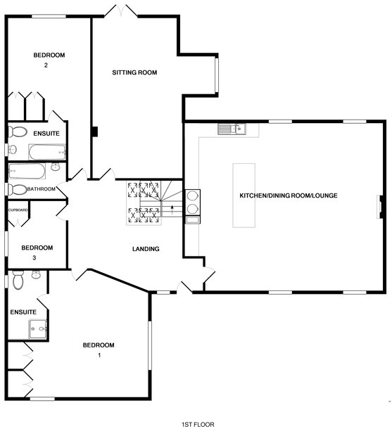 The first floor plan for Old Brea Coach House, a spacious holiday house in Daymer Bay on the North Cornwall Coast.