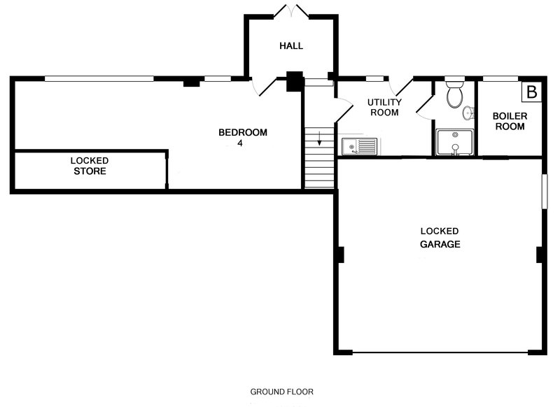 The ground floor plan for Trestar, a self catering holiday house to rent in Polzeath, North Cornwall.