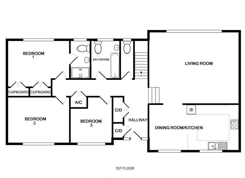 The first floor plan for self catering holiday house Trestar in Polzeath on the North Cornwall Coast.