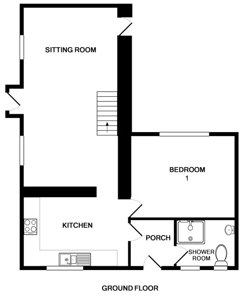 The ground floor plan for self catering holiday cottage St Michaels in Porthilly, North Cornwall.