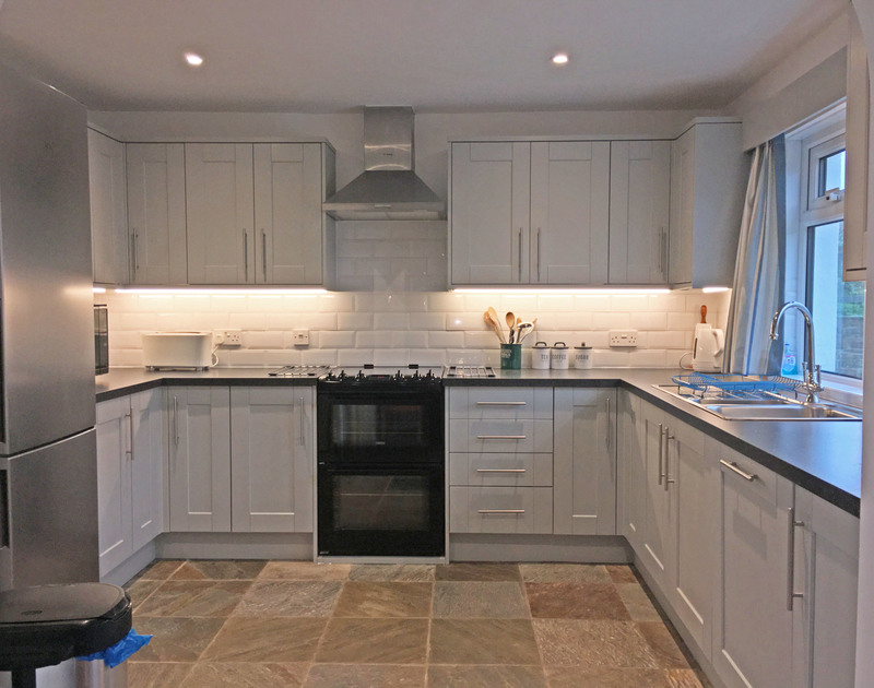 Enjoy preparing family meals in the modern and well equipped kitchen at Broadagogue, a coastal holiday home to rent in Daymer Bay in North Cornwall.