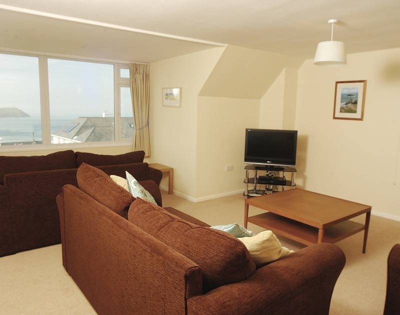 The first floor lounge with stunning seaviews at Chy-An-Var, holiday cottage at New Polzeath, Cornwall