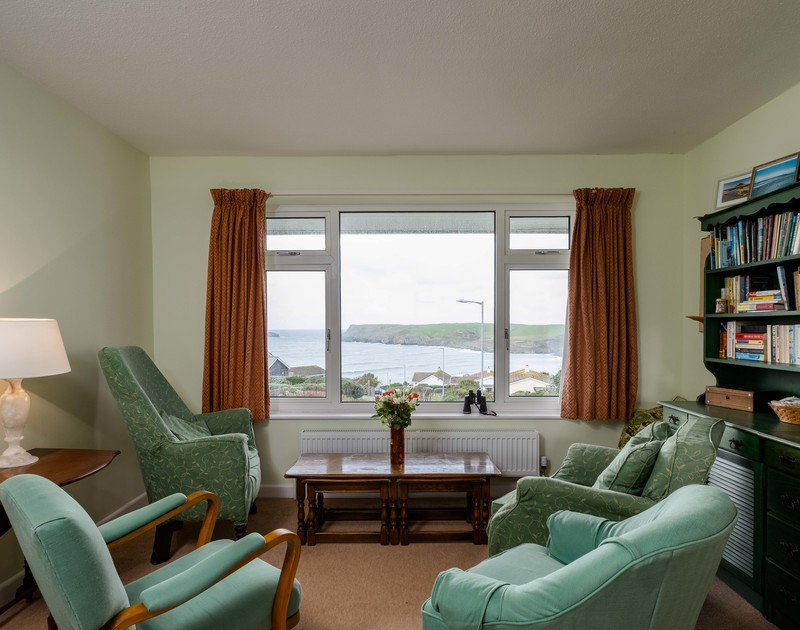 The beautiful sea views from the lounge at Windyhill self catering holiday home in Polzeath, North Cornwall.