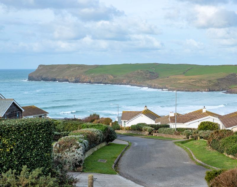 The gorgeous view of Polzeath beach from Windyhill self catering holiday home, Polzeath on the North Cornwall coast.