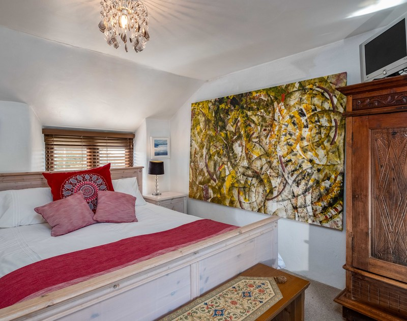 The master bedroom at Trehaverock Cottage self catering holiday cottage in Polzeath, North Cornwall.