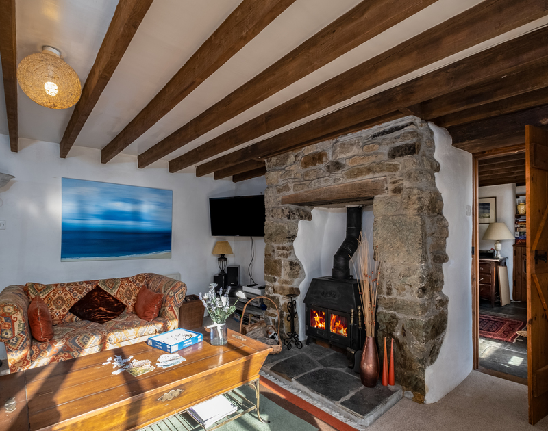 The character filled living room at Trehaverock Cottage self catering holiday home in Polzeath.