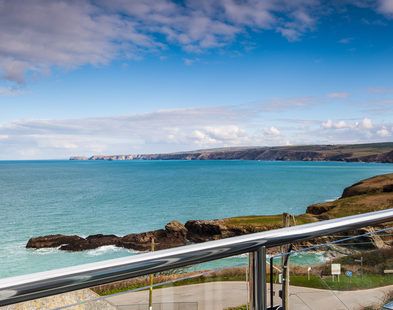 The amazing sea views from the balcony at The Lawns self catering holiday home in Port Isaac, North Cornwall.