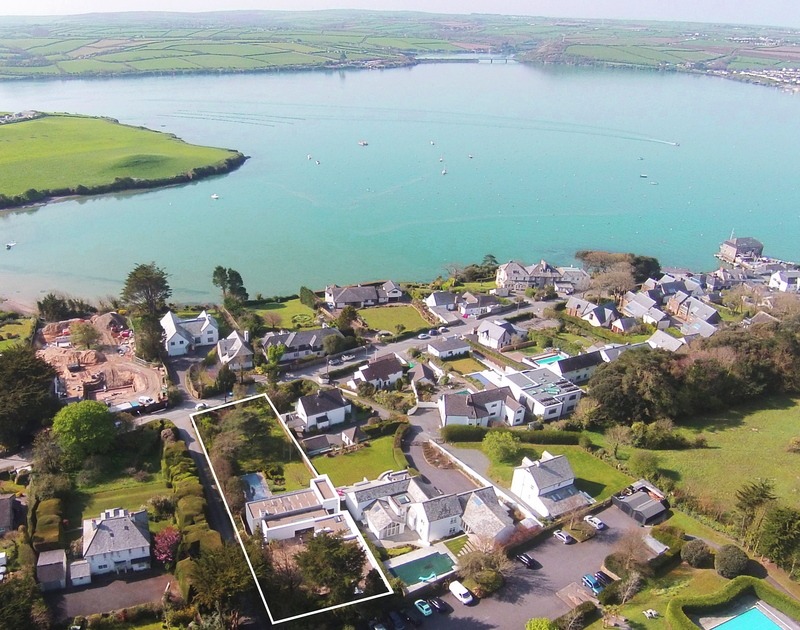 An aerial view of Tresithney self catering holiday home in Rock, North Cornwall.
