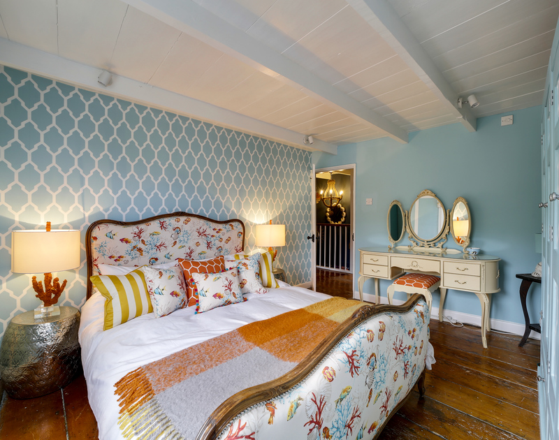 The master bedroom at Hillside Cottage self catering holiday home in Port Isaac, North Cornwall.