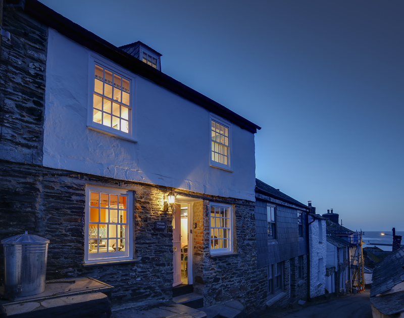 The external view of Hillside Cottage self catering holiday home in the evening in Port Isaac, North Cornwall.
