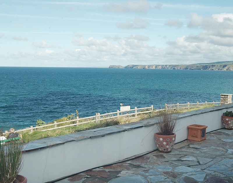 Stunning views towards Tintagel Head from the terrace at No.1 Cliffside in Port Isaac, North Cornwall