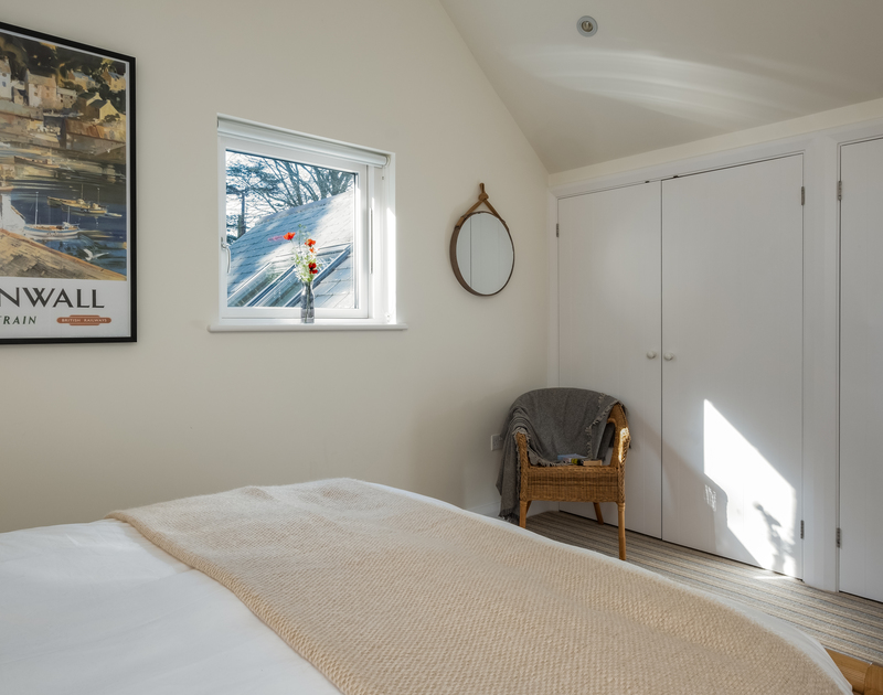 The king bedroom at Out Of The Wind self catering holiday home in Rock, North Cornwall.