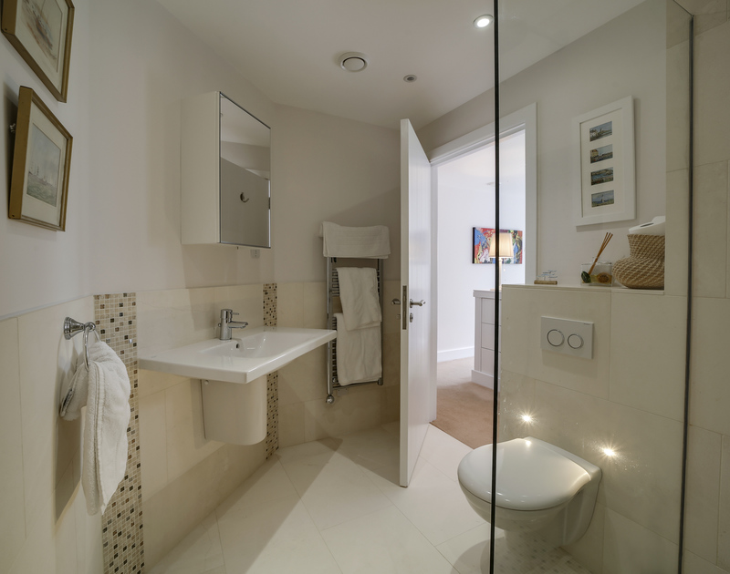 The ensuite shower room for the double bedroom at Clouds Hill, a high specification holiday house beside the sea in New Polzeath in North Cornwall.
