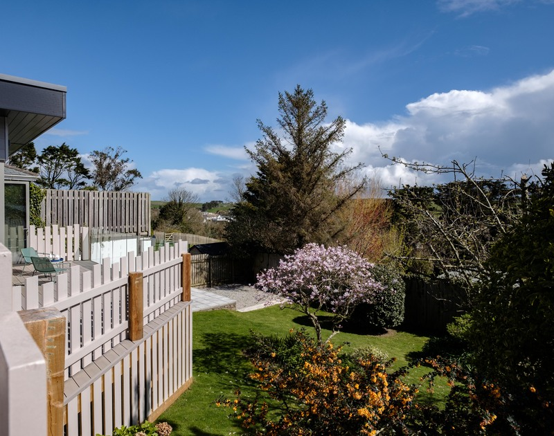 The sunny garden at Lowena self catering holiday home in Polzeath, North Cornwall.