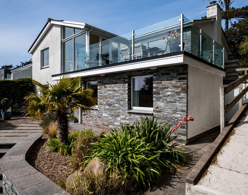 Stone and glass details in the exterior of Landers, a holiday house to rent in Rock, Cornwall