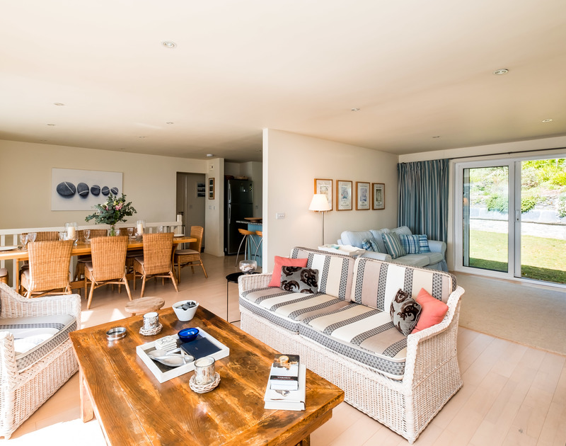 The spacious living in Landers with access to the private garden at the rear of the property and front balcony where you can sit in the sunshine and enjoy the Camel Estuary views