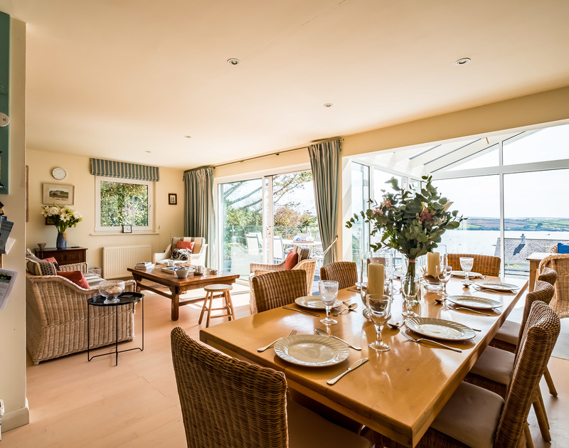 Lovely seaviews from the open-plan sitting room/diner at Landers, a superb holiday house in Rock, Cornwall