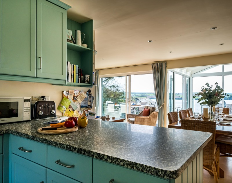 Stunning Camel Estuary views can be enjoyed from the kitchen area at Landers in Rock