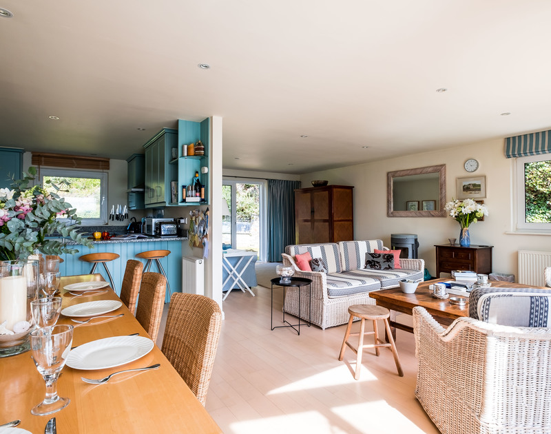 The spacious open plan; kitchen, dining and lounge area on the first floor at Landers in Rock.