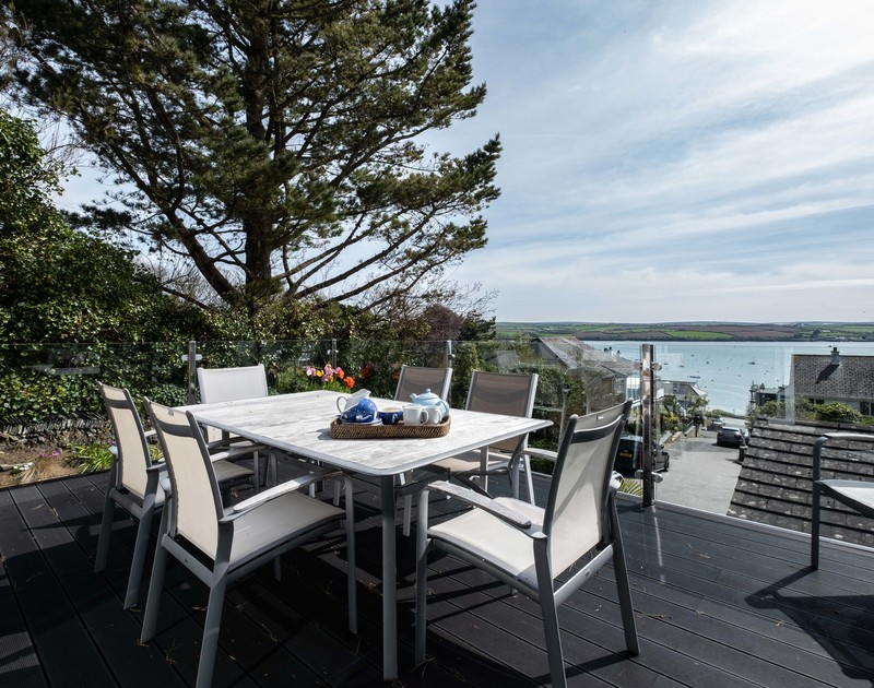 Views of the Camel Estuary and Padstow from the first floor deck of Landers, a superb holiday house in Rock, Cornwall