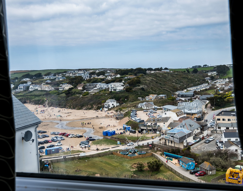 The view of Polzeath beach from Pinewood 14 self catering holiday home in North Cornwall.