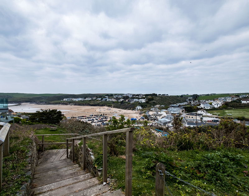 The private walkway down to Polzeath beach at Pinewood 14 self catering holiday home in North Cornwall.